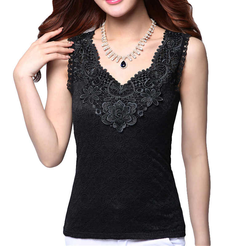 Women's Summer Sexy Blouse Shirt Elegant Sleeveless Black Crochet Lace Shirt Tops and Blouses Women Blusas Camisa Vest Plus Size