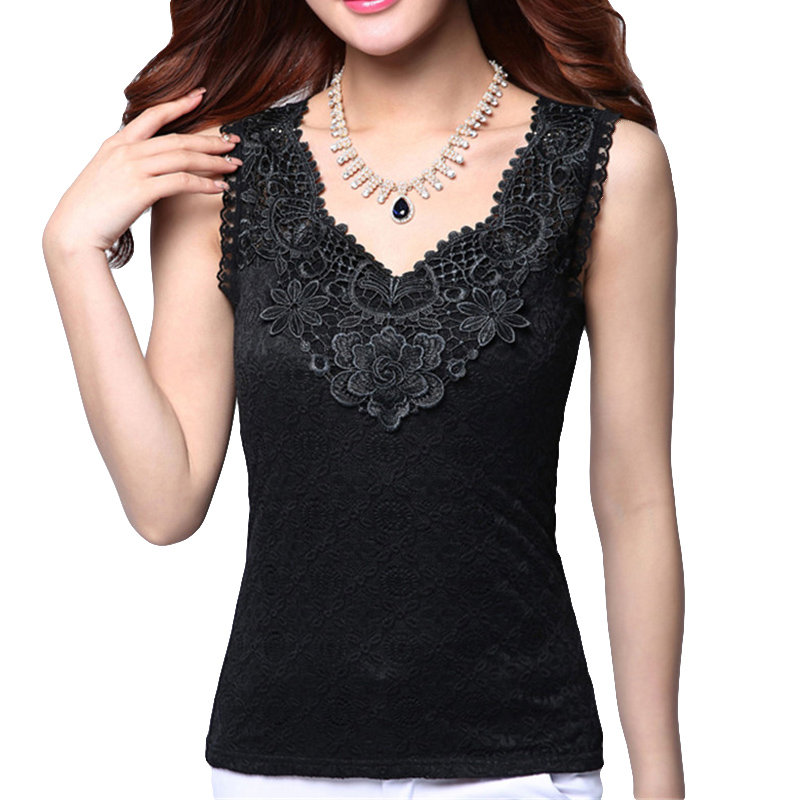 Women's Summer Sexy Blouse Shirt Elegant Sleeveless Black Crochet Lace Shirt Tops And Blouses Women Blusas Camisa Vest Plus Size