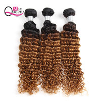 May Queen Hair Ombre Brazilian Deep Wave 3&4Pieces T1B/30 Two Tone Color Remy Hair Extensions 100% Human Hair Weave Bundles