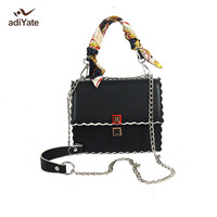 ADIYATE Womans Scarves Bag High Quality Leather Messenger Shoulder Bags Wholesale Square Exempt Postage 2017 New Bolsos Cheap
