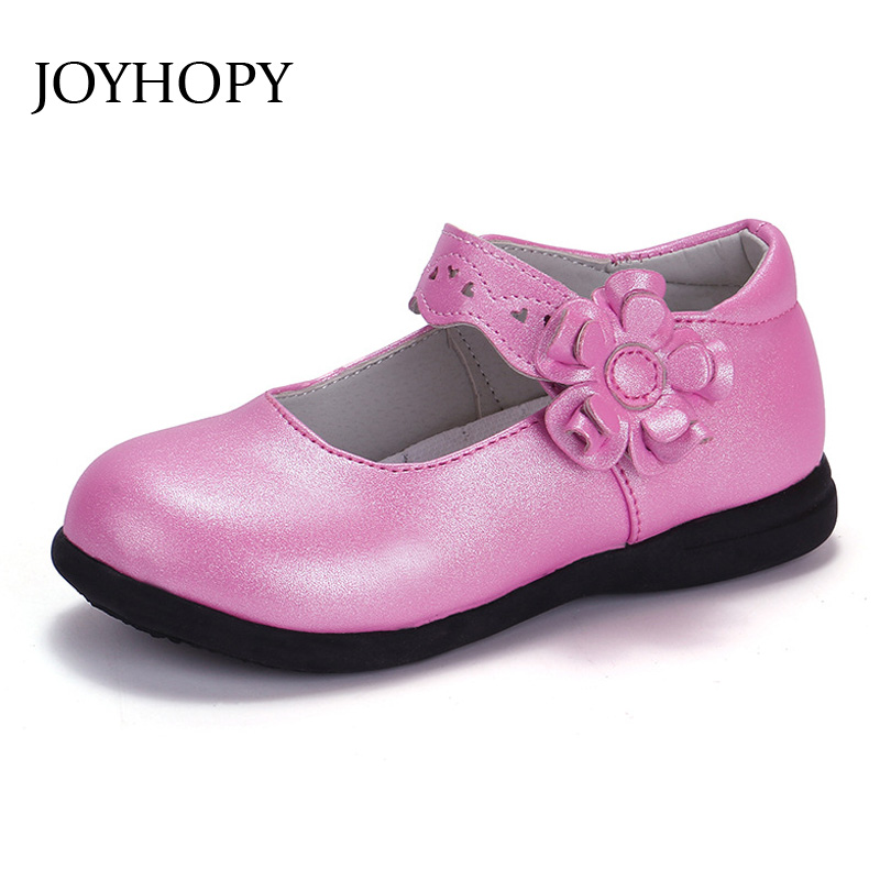 New Spring Autumn Children Shoes PU Leather 5Color Quality Princess Flower Girls Shoes EUR26-36
