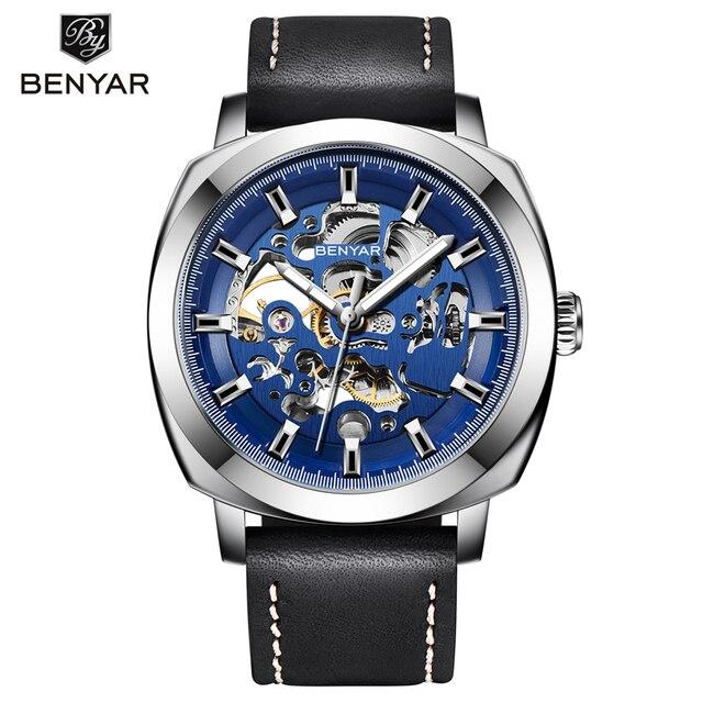 Reloj Hombre BENYAR Mens Orologi Top Brand di Lusso di Modo Impermeabile di Scheletro Orologio Da Polso In Pelle Orologio Uomo Relogio Masculino Hongkong Carina Romantic Watches Store