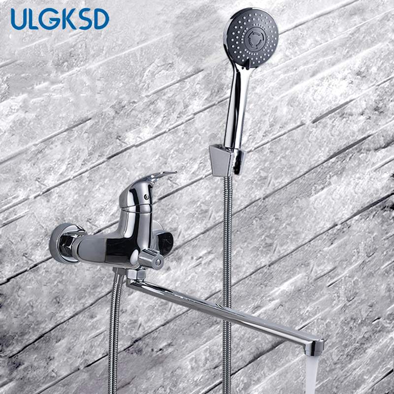 ULGKSD Bathtub Faucet 40cm Long Spout Hot and Cold Mixer Water Tap Brass Hand Shower Sprayer Bathroom Faucets цена 2017