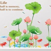 Chinese Style Lotus Pond Wall Sticker Goldfish Dragonfly Stickers Living Room Decals Painting Diy New House