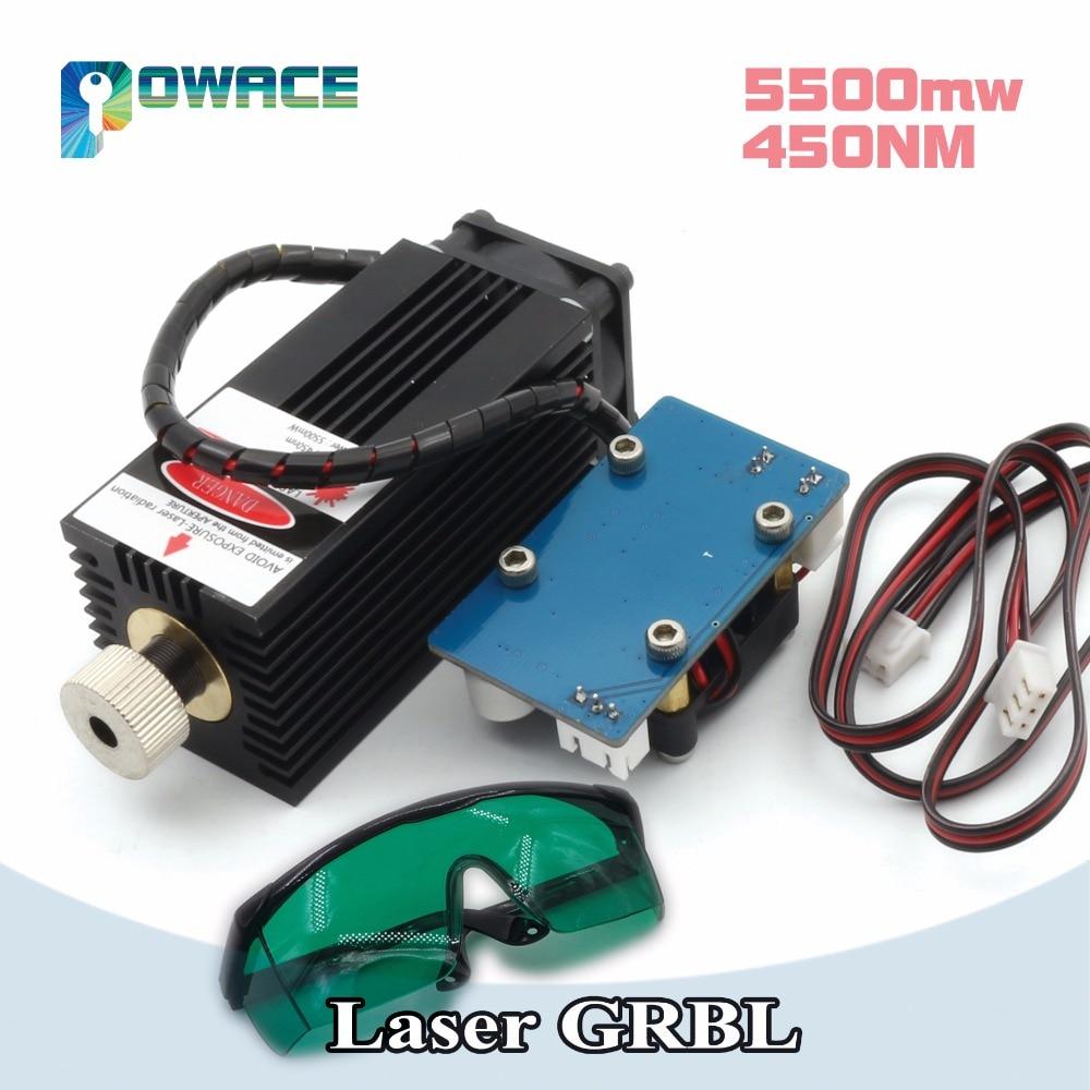 5500 MW 450NM haute puissance focalisation Module Laser bleu gravure laser et découpe module TTL 5500 mw Tube Laser + lunettes de sécurité