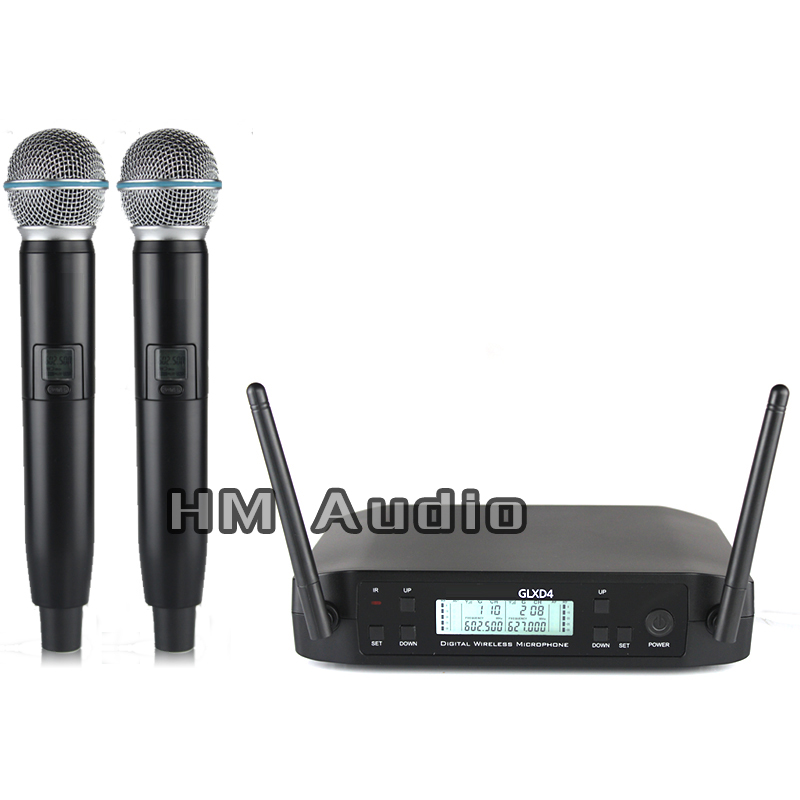 New High Quality Professional GLXD4 Dual Wireless Microphone System stage performances a two wireless microphone hot sale top quality true diversity system 2 antenna for stage em2050 skm 9000 skm9000 wireless microphone system 2 performan