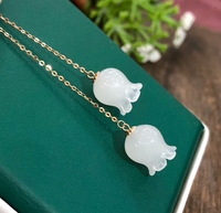 Koraba 18K Real Gold Inlaid Natural Hetian Jade White Jade Bell Orchid Earrings Elegant with Certificate
