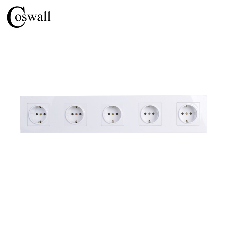 COSWALL High Quality Wall Power 5 Way Socket Plug Grounded, 16A EU Standard Electrical Quintuple Outlet 430 mm * 86 mmCOSWALL High Quality Wall Power 5 Way Socket Plug Grounded, 16A EU Standard Electrical Quintuple Outlet 430 mm * 86 mm