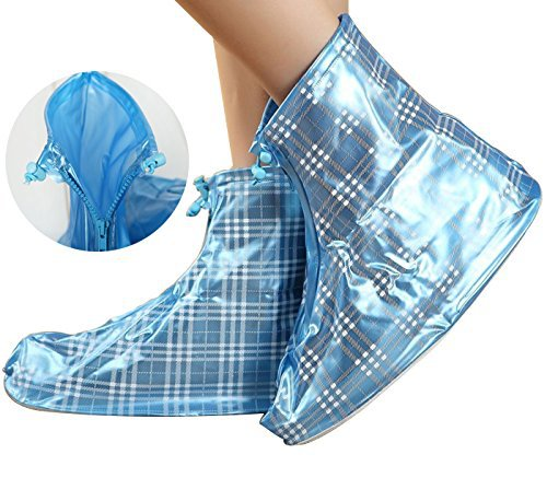 Fashion Blue Plaid Zippered Thicken Rainproof Nonslip Wear-resistant Reusable Flat Rain  ...