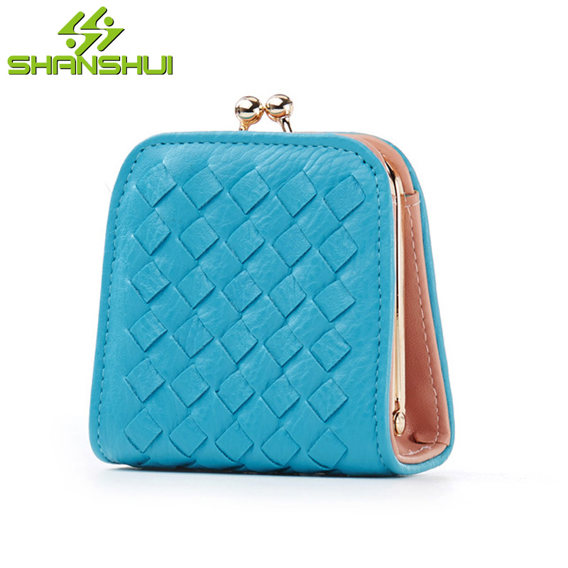 2017 Women New Candy Color PU Leather Coin Purse Small Wallet Mini Short Cute Knitting Casual Travel Purse for Coins Wallets