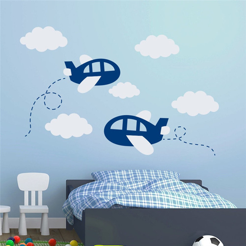 Airplane Wall Sticker Large Nursery Decor Wall Stickers For Kids Room Aircraft Wall Art Decals Plane Clouds Decal Art T180313