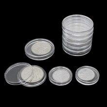 Porte-monnaie Transparent en plastique 10 pièces/lot | Boîte de collecte de monnaie, étui pour pièces de rangement, boîtes conteneurs de Protection de Capsules 18-40mm