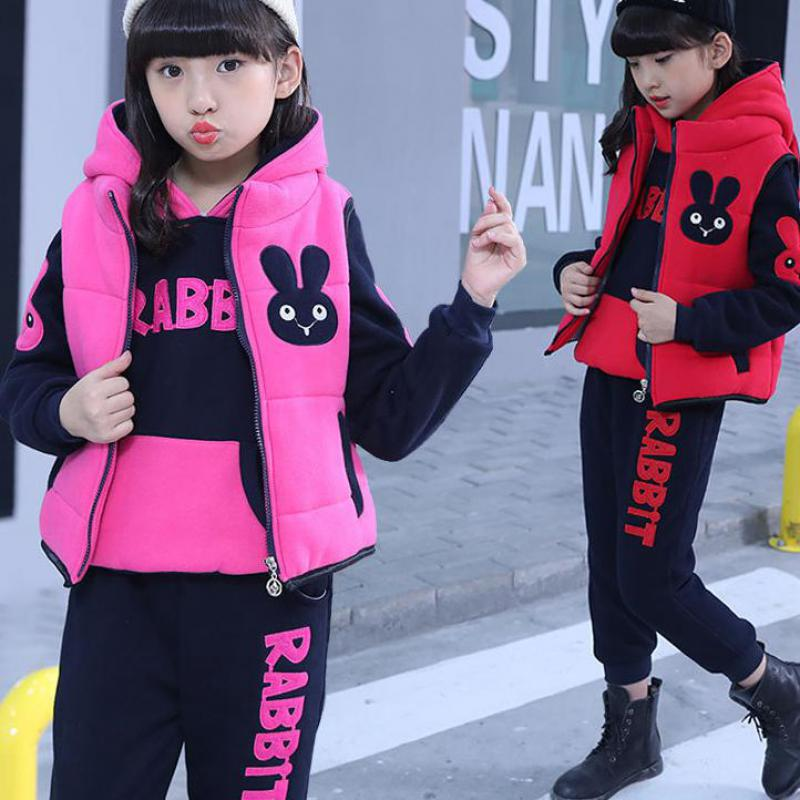 2018 Boy Girls Winter Children Clothing Set Child Sports Thick Fleece Hoodies + Pants + Vest 3pcs Sweatshirts Suits Kids Clothes все цены