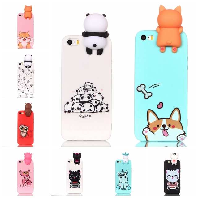 the latest ef6da ff3c8 US $2.78 35% OFF|For Coque iPhone 5S Case 3D Cartoon Toy Owl Panda Unicorn  Cat Soft Silicon Back Cover For iPhone 5 SE Case-in Fitted Cases from ...