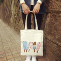 2017 Hot New Fashion Women Female Korean Ice Cream Cute Casual Soft Zipper Cartoon Student Canvas Shopping Bags Shoulder Bags