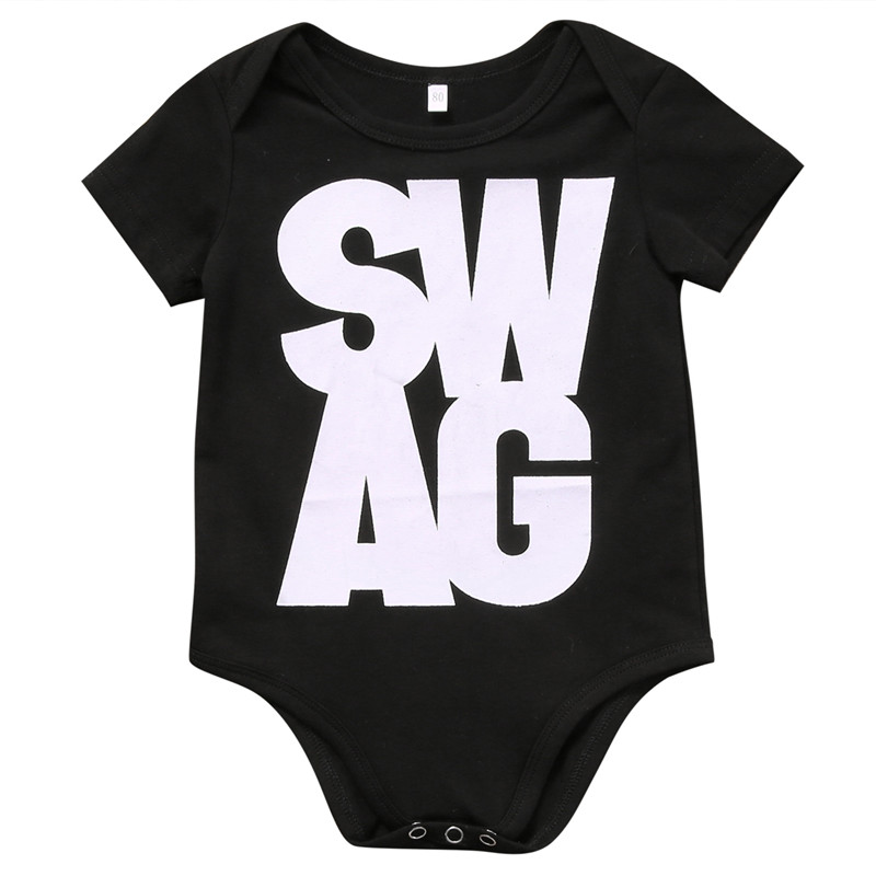 2017 Hot sales Kids Baby Boys Girl Clothes SWAG Cotton Short Sleeve Romper Jumpsuit Outfits Baby Clothing Set One-pieces