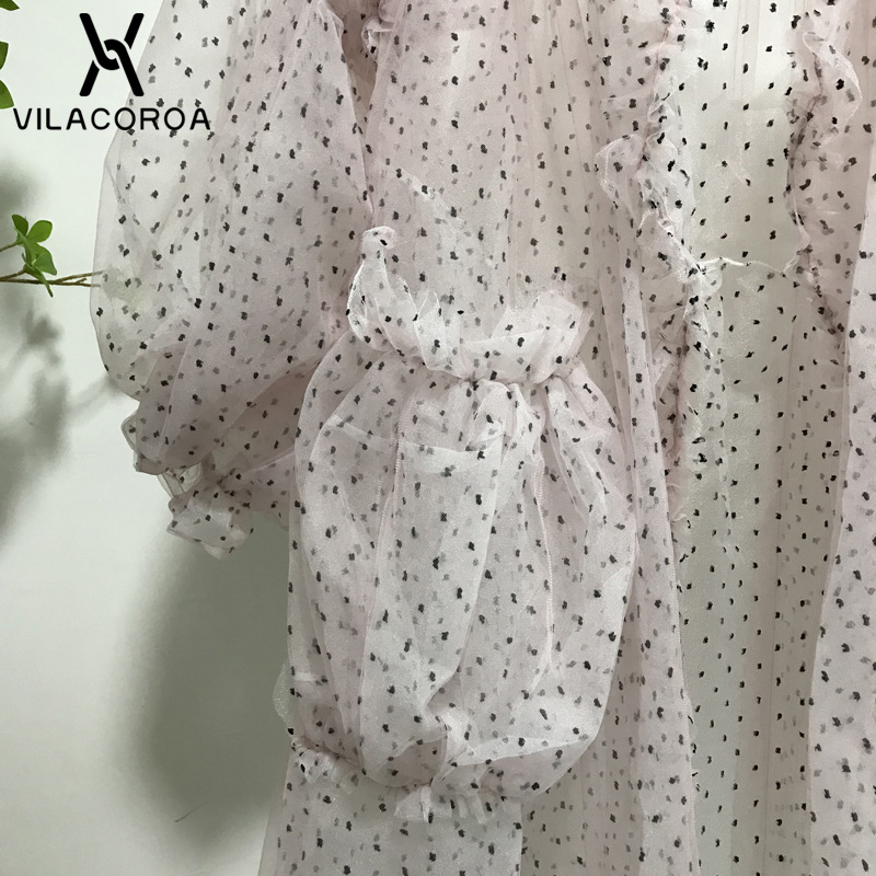 Essentiel Dot De coat Abrigo Manches Lanterne Pour Trench Chemisier Bikini Lâche Cardigan Pink Plus Mujer Femmes Maille Polka Transparente XOPk80nw