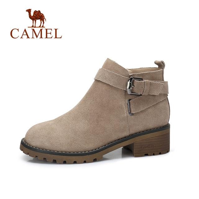 CAMEL Short Boots Women 2018 Winter Fashion 영국 Martin Short Boots 버클 스퀘어 (times square) 힐 Warm Non-slip Boots 슈 대 한 숙 녀