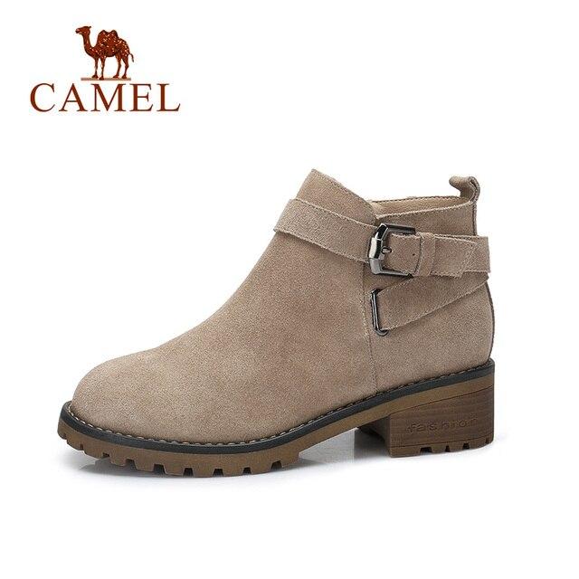 Wielbłąd krótkie buty kobiet 2018 zima moda brytyjskie Martin krótkie buty klamra kwadratowy obcas ciepłe antypoślizgowe buty do butów dla pań
