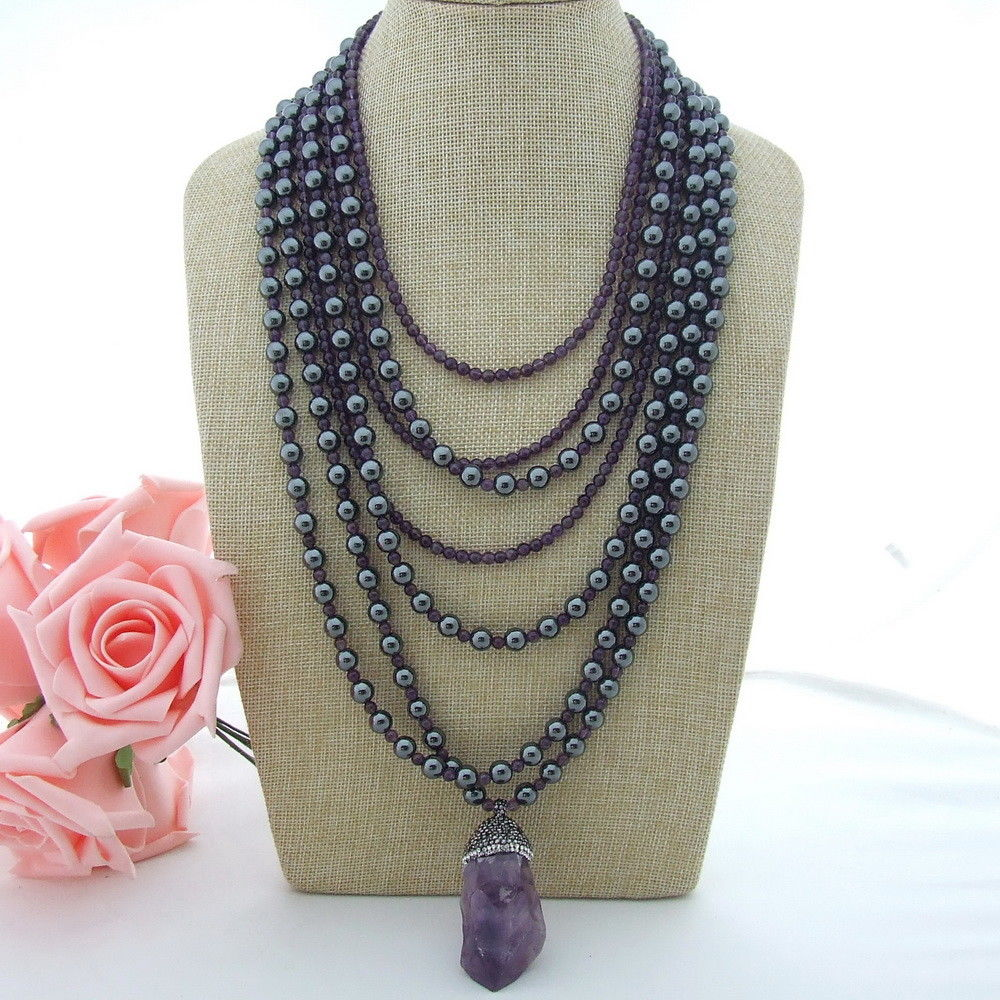 N012802 18'' 7 Strands Purple Stone Hematite Necklace Gems Rough Pendant 20 23 7 strands green stone necklace cz pendant