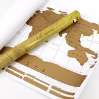 Travel Scratch Off Map Personalized World Map Poster Traveler Vacation Log National Geographic Wall Sticker Home