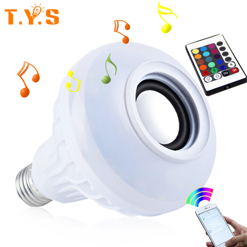LED Wireless RGB Bluetooth Speaker Bulb E27 100-240v LED RGB Light Music Playing Lamp With Remote Control Bulb Light Lamp Music speaker bluetooth led rgb light music large bulb lamp color changing via wifi app control mp3 player wireless bluetooth speaker