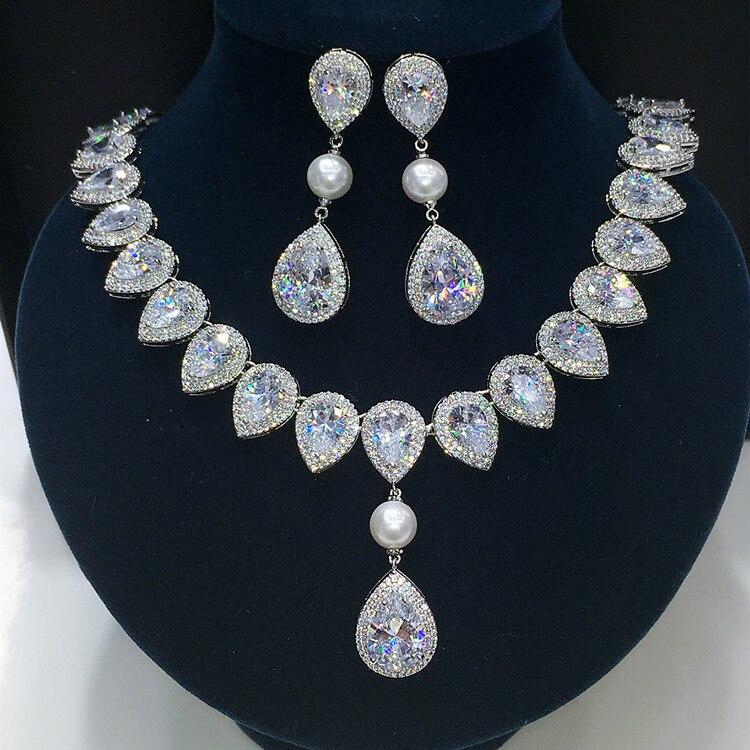 2016 新クリア白矢印ハート正方形 CZ クリスタル真珠の宝石セット結婚式のネックレスイヤリングセット GLN0280 /GLE5546  グループ上の ジュエリー & アクセサリー からの ジュエリーセット の中 1