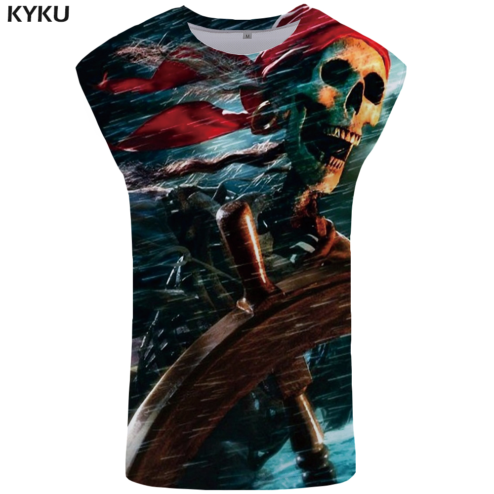 KYKU Skull   Tank     Top   Men Pirate Tanktop The Sea Stringer Punk Mens Bodybuilding Gothic Undershirt Singlet Sleeveless Shirt