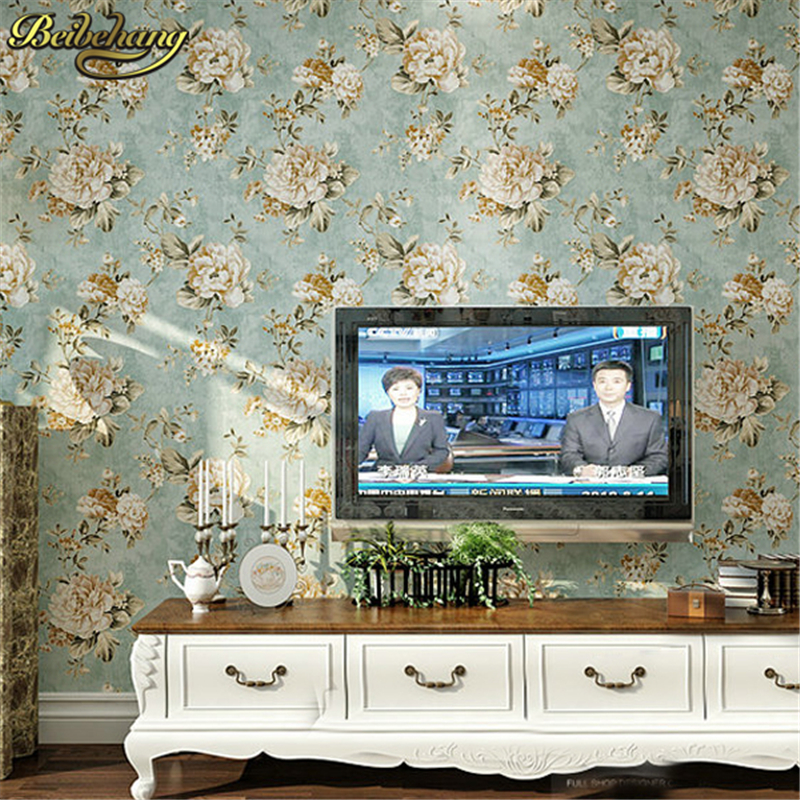 beibehang papel de parede. Non-woven flower bedroom floral europe wall paper blue modern background wall wallpaper for