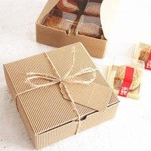 Гофрированная крафт-бумага квадратная коробка для торта, печенья десерт сладости упаковка печенье в коробках посылка подарок украшения сувениры
