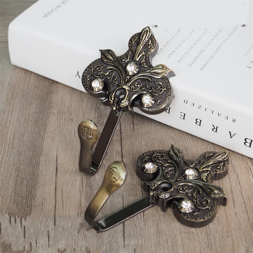 luxury alloy curtain tie back wall hooks flower tieback holders hat coat robe hanger accessories home