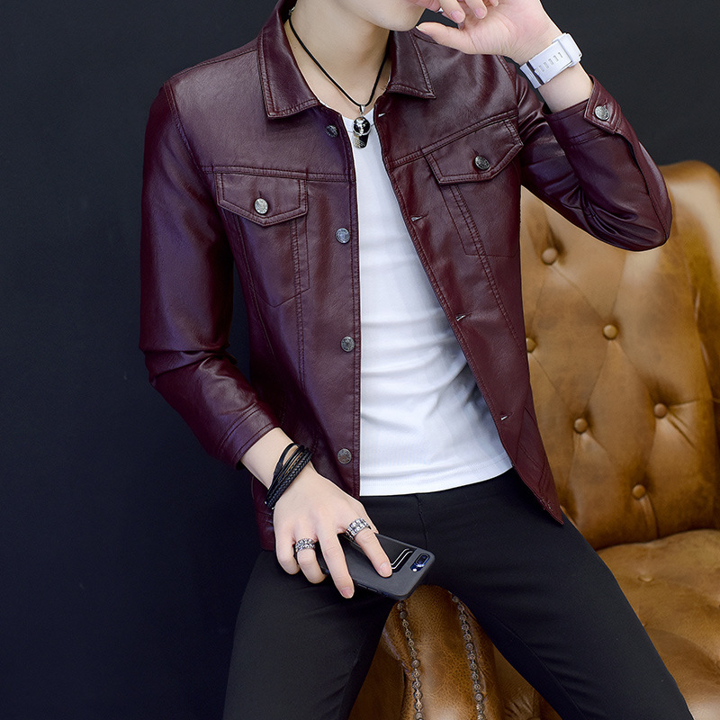 Men Leather Jacket Fashion PU Male Red Wine Leather Motorcycle Jacket Coats Mens Brand Clothing Coat Black Brown M-4XL