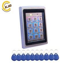 ホット販売! Xjq rfid メタルアクセスコントロールキーパッドとブルーバックライトオフィスドアアクセスコントローラ + 10 個 125 125khz キーフォブカード