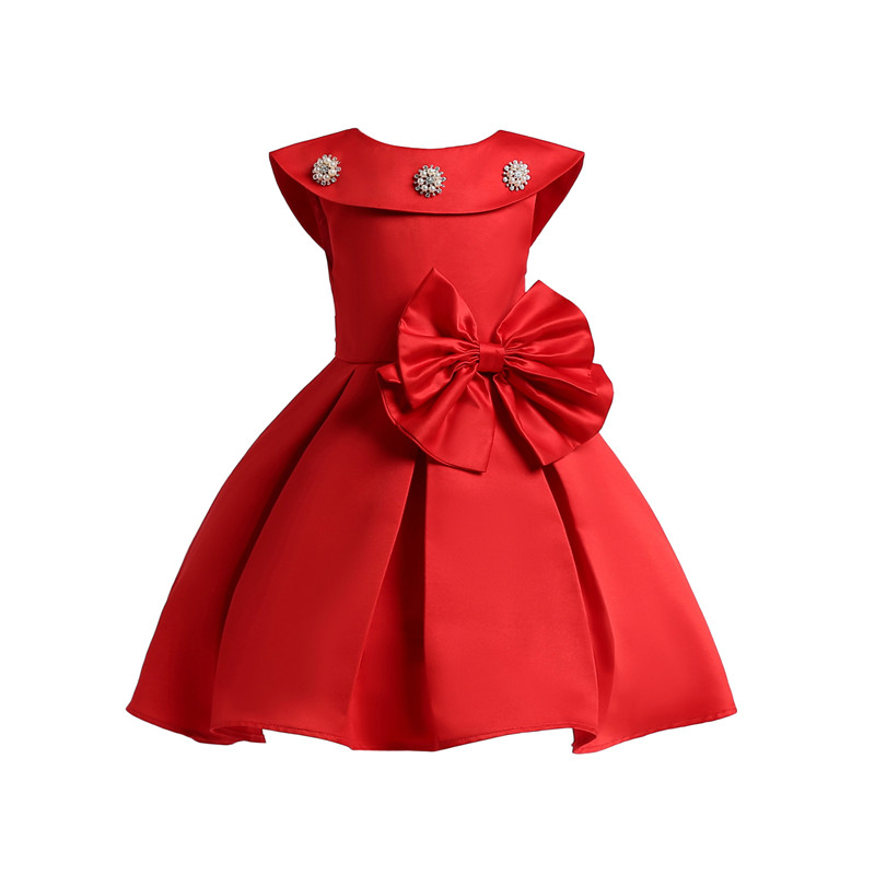formal girl bow dress european style princess christening party reception  dresses with diamond sleeveless floral bow clothes 1f50f17ae35e