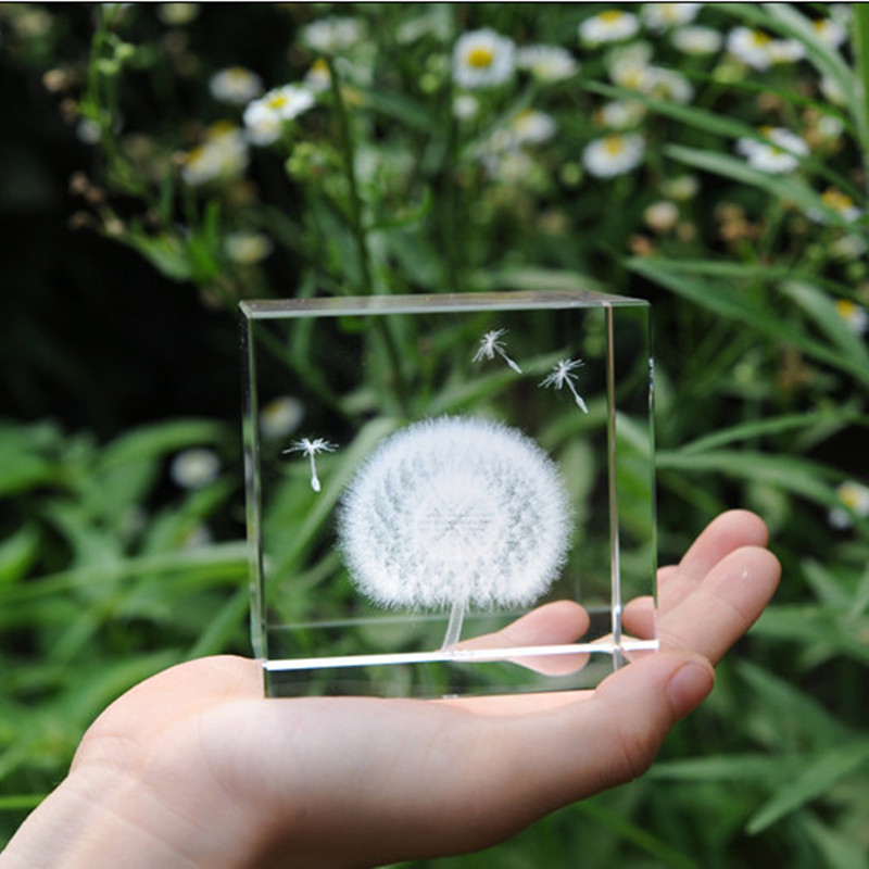 3D Laser Engraved Cube K9 Crystal Dandelion figurines White DIY Natural Stones And Minerals Souvenir Crafts For Home Decoration ...
