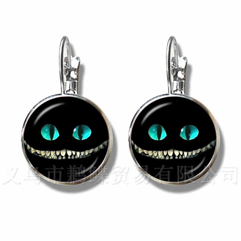 Alice In Wonderland Earrings Cheshire Cat 16mm Glass Round Dome DIY Jewelry Silver Plated Stud Earrings For Women Gift