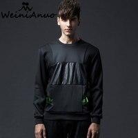 WEINIANUO New Fashion Desgin Hoodies Brand Stitching Sweatshit Hip Hop Thin Pullover Tracksuit Streetwear Men S