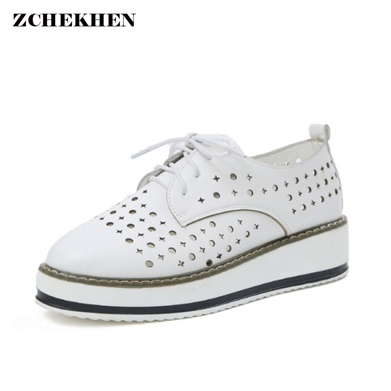 Thick Sole Breathable Platform Flats Female white Shoes for Women hollow out Shoes Sneakers Creeper Spring Summer Loafers xiaying smile woman sneakers shoes women flats spring summer thick sole embroider rose lace up black white student women shoes