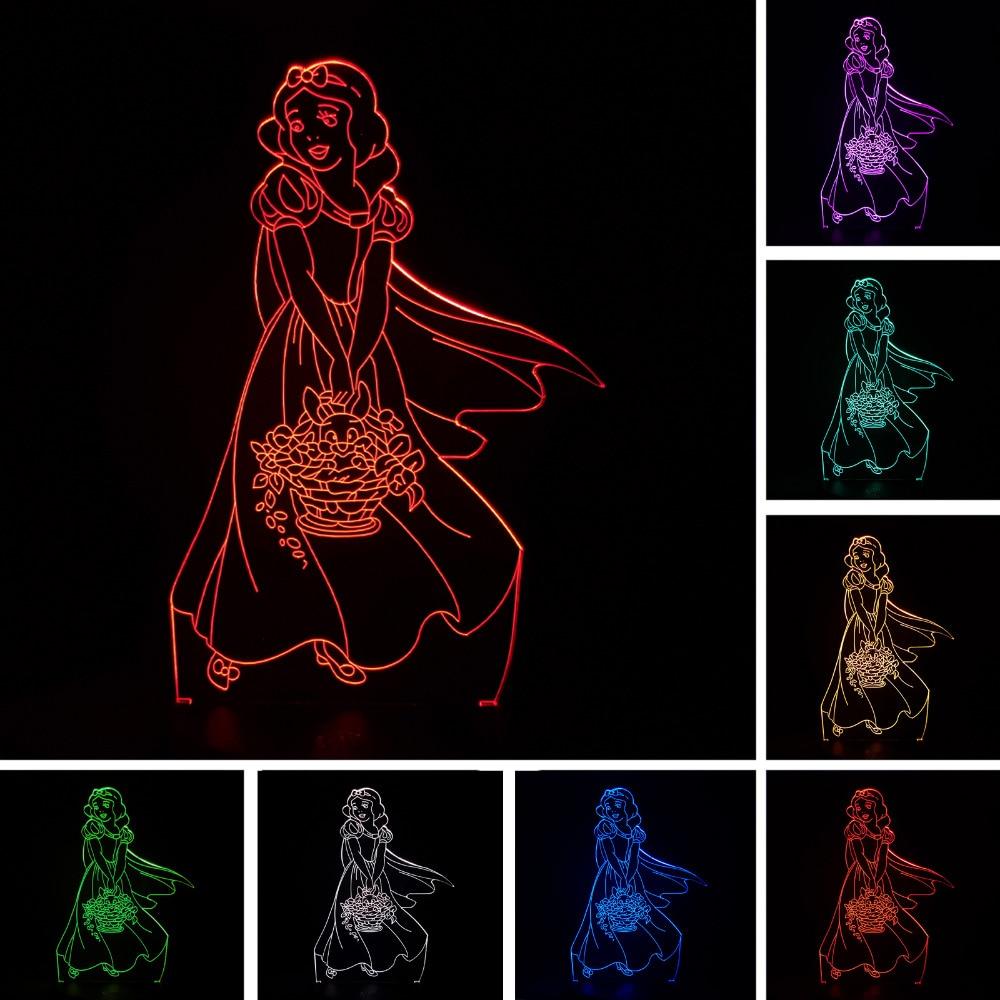 Luzes da Noite 3d bonito e elegante menina Fonte de Luz : Lâmpadas Led