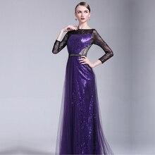 2016 New Fashion vestidos de festa Sparkly Pailletten A Line Abendkleider Abgedeckt Illusion Tulle Lange Kleid