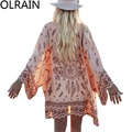 Olrain Women Vintage Floral Loose Shawl Kimono Cardigan Boho Chiffon Tops Jacket Blouse