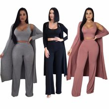 Ladies Casual 3 Piece Solid Set Women Fall Winter Outfits Knit Sexy Long Coat+Crop Tops+Wide Leg Pant Suit Sets Plus Size S-2XL(China)