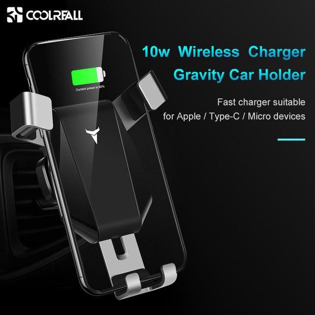 Coolreall Qi Беспроводное зарядное устройство для автомобиля держатель для IPhone XR XS Max X samsung автоматический интеллектуальный датчик быстрого креп...