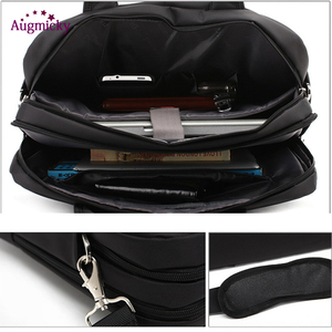 Image 3 - ダブルジッパー大容量の男のビジネスブリーフケースのラップトップバッグショルダー旅行バッグノートブックのため 15 16 17 インチ