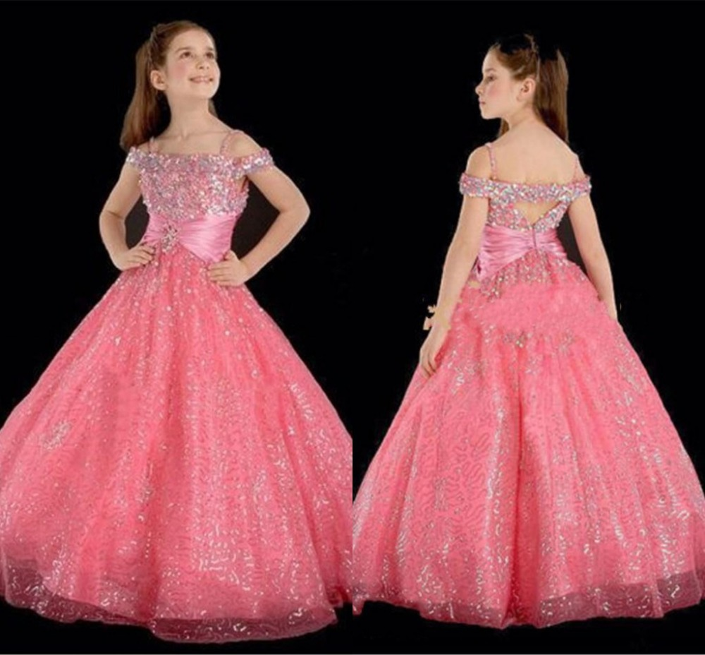 2016 New Lovely Pink Flower Girls Dresses Off Shoulder Floor Length Sequins A Line Girls Pageant Dress sexy spaghetti straps