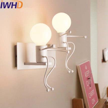 IWHD Chilgren Sconce Led Wall Lamp Modern Iron Wall Lights For Home Creative Stair Bedroom Light Fixtures Applique Luminaire norbic creative loft wood wall sconce lamp with switch home deco bedroom iron bell lampshade e27 bulb wall light fixture