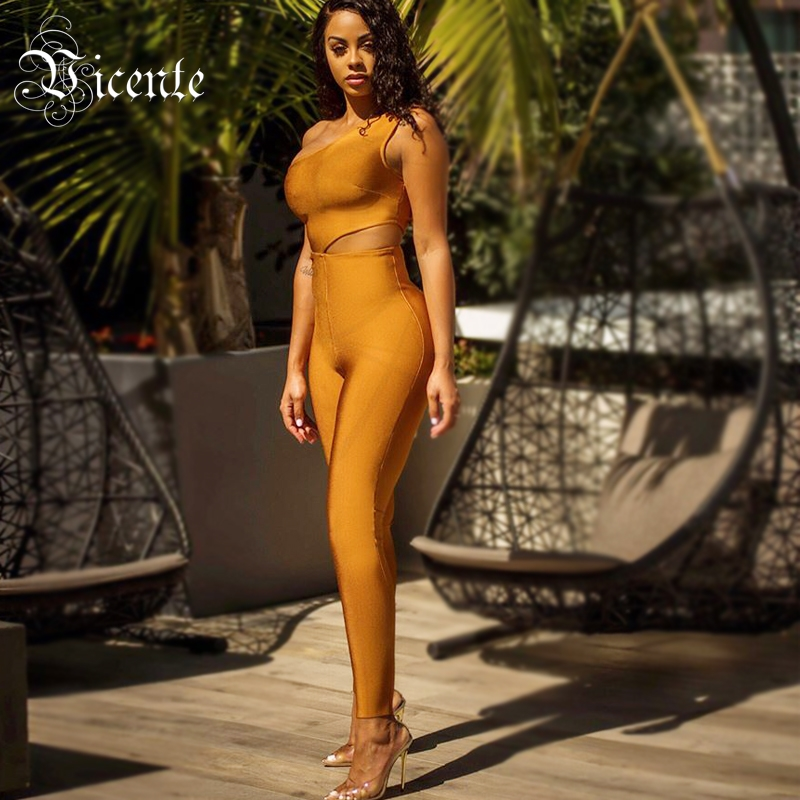 Free Shipping! Fashion Light Tan Jumpsuit Sexy One Shoulder Waist Cut Out Design Wholesale Celebrity Party Bandage Jumpsuit