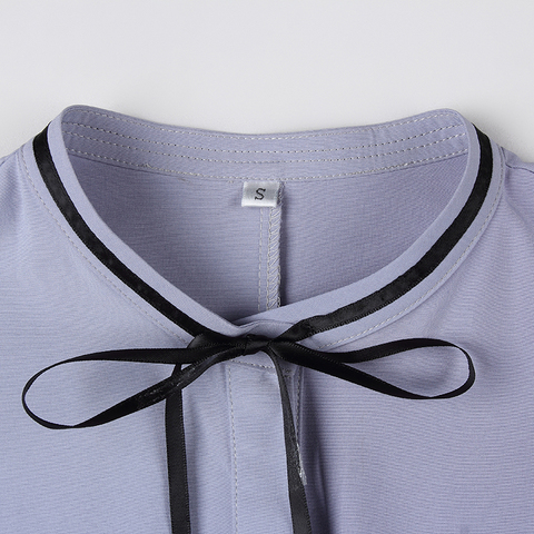 3c3c309db05a88 Lenshin o Pescoço Camisa de Manga Mulheres de Manga Design de Estilo Pétala  Arco Blusa Cinza Elegante Fêmea Curta Casual Wear Top Senhoras
