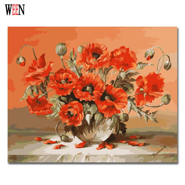 Ween Flower Vase Oil Painting By Numbers Abstract Diy Hand Painted
