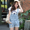 fashion new original single large size women spring and summer hole denim shorts overalls